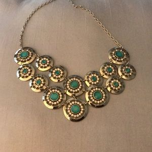 WHBM green and gold layered necklace